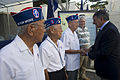 Secretary of Defense Leon E. Panetta shakes hands with World War II veterans after laying a wreath at the National Memorial Cemetery of the Pacific in Honolulu, Hawaii, on Nov 121111-D-BW835-166.jpg