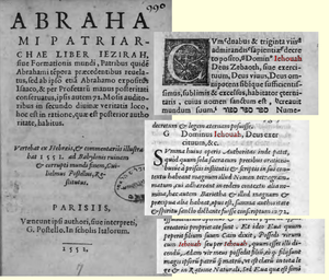 Excerpts from a 1552 edition of Sefer Yetzirah...
