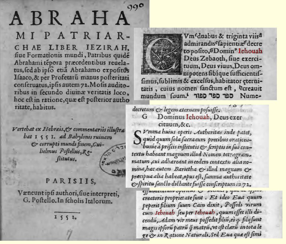 Sefer Yezira 1552 IEHOUAH