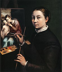 Sofonisba Anguissola died 16 November Self-portrait at the Easel Painting a Devotional Panel by Sofonisba Anguissola.jpg