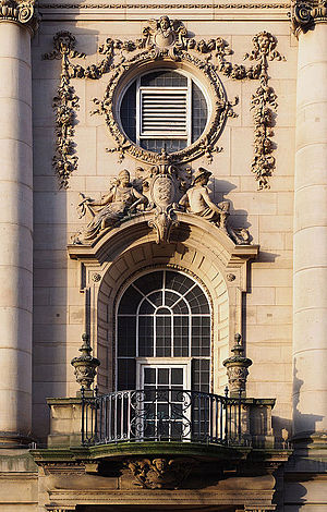 Sessions House, Preston - Detail of the balcony and window above the main entrance on Harris Street