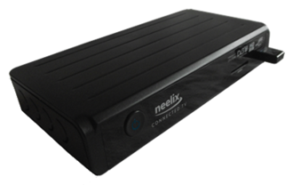 Set-top box - An Inview Neelix set-top box manufactured in 2012. It allows simultaneous access to television broadcast and internet applications