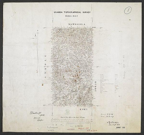 600px sheet south a 36 b   war office ledger.uganda topographical survey. %28woos 13 7 1%29