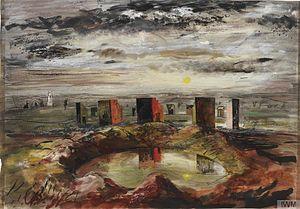 John Piper (artist) - Shelter Experiments, near Woburn, Bedfordshire (Art. IWM ART LD 3859)