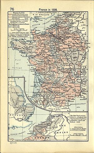 History of Burgundy - Burgundy within 14th century France, map by William R. Shepherd.