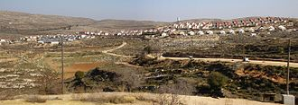 Israeli outpost - The large outpost-declared-neighborhood Shevut-Rachel seen from Shilo.