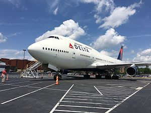 Delta Flight Museum - Delta Ship 6301 (N661US), the first production 747-400, at the museum.