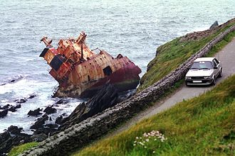 Slea Head - The Ranga, here pictured in 1986, was wrecked in 1982