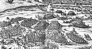 Siege of La Rochelle (1572–73) - German print of the Siege of La Rochelle (1572–1573), with the city in the background, and the fleet of Montgomery in the upper left corner.