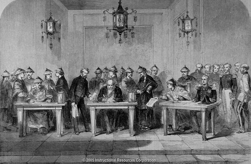 Signing of the Treaty of Tientsin in 1859-06-06 after China lost the war.