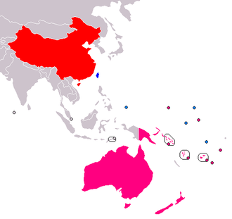 Sino-Pacific relations - The PRC (red), the ROC (blue), and the fourteen sovereign countries of Oceania. Those in pink recognise the PRC; those in light blue recognise the ROC. (as of April 2014)