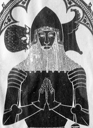 Peter Courtenay (died 1405) - Sir Peter Courtenay (d.1405), detail from rubbing of monumental brass, Exeter Cathedral. His head rests upon his helm, atop which is the crest of Courtenay: Out of a ducal coronet or a plume of seven (or other number) of ostrich (or swan) feathers in three rows argent, sometimes blazoned as a plume