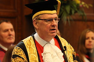 Newcastle University - Sir Liam Donaldson robed as Chancellor of Newcastle University.