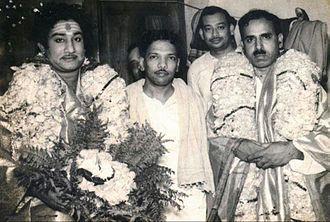 Sivaji Ganesan - Sivaji Ganesan (far left) with M. Karunanidhi next to him.