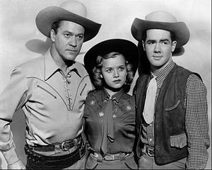 Kirby Grant - Grant (left) with Gloria Winters  and Ron Hagerthy in Sky King