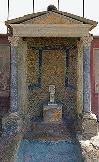 Small temple in the garden of Casa della Nave Europa (Pompeii).jpg