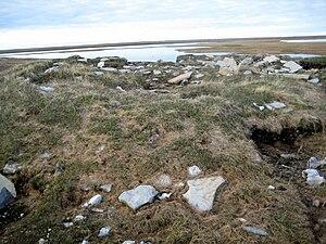 Igloolik Island - Remnants of older Inuit sod houses in Igloolik Point