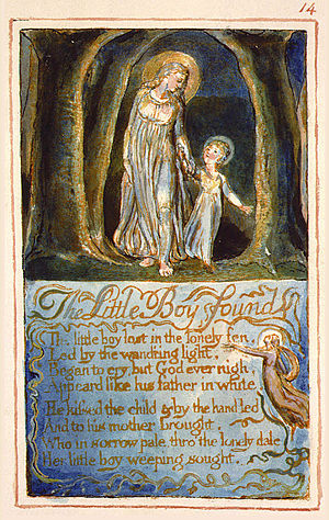 "The Little Boy Found - One of Blake's prints for ""Little Boy Found"""