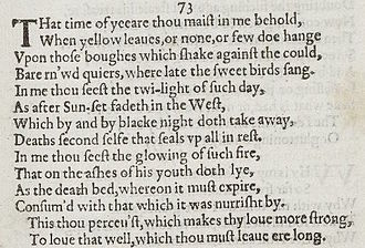 sonnet  sonnet 73 detail of old spelling text