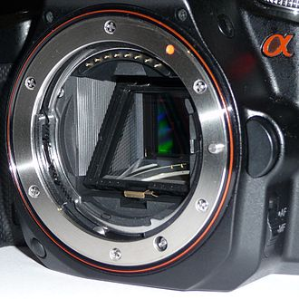Sony α - The Sony A-mount on an α33 camera.