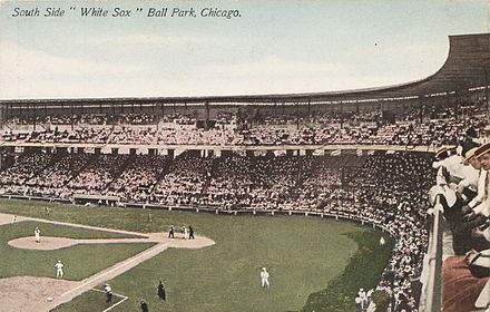 "White Sox Park in its early days. The ""South Side"" label refers to the White Sox themselves, not the stadium. South Side Park, home of the White Sox, Chicago, Illinois, circa 1907-1913.jpg"