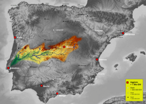 Map of Tajo river basin in Spain, Karte des hy...