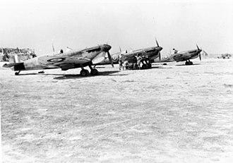 RAF Ta Kali -  A Supermarine Spitfire of 249 Squadron at RAF Ta Kali in 1942.