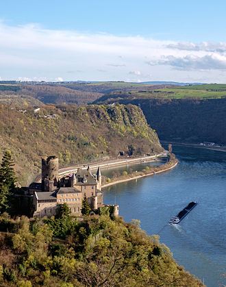 Middle Rhine - St. Goarshausen, Burg Katz, with Lorelei rock in Rhineland-Palatinate