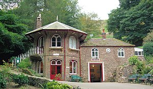Malvern Hills - St. Ann's Well, Great Malvern, a popular café for walkers on the hills. The building on the right houses the spout from which the water surges into a basin.