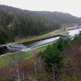 St. Peters Canal - The single lock in the canal features an unusual double-gate system used because each end of the canal (Atlantic Ocean and Bras d'Or Lake) has a different tidal regime.