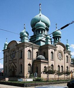 The historic St. Theodosius Russian Orthodox Cathedral on Starkweather Ave.