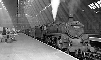 BR Standard Class 5 - No 73142 ready to depart with the 10.50 Express from London St Pancras to Leicester in 1957. Note the Caprotti valve gear.
