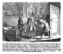 A doctor being visited by a French surgeon, with drawings of the doctor's earlier life on the walls behind