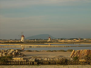 Marsala - Salt evaporation ponds at Marsala