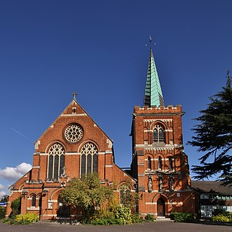 History of Staines-upon-Thames - St Peter's parish church, designed by George Fellowes Prynne and built 1892–94 with the aid of Sir Edward Clarke