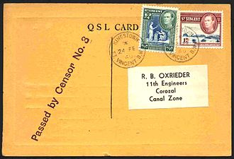 Heys Collection - The postal side of a 1940 QSL card from St. Vincent. (Not from the Heys Collection)