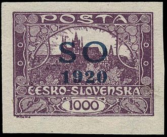 Postage stamps and postal history of Czechoslovakia - Overprinted Czechoslovak stamp for use in East Silesia