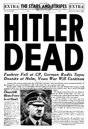 1945 in Germany - Adolf Hitler, along with his wife Eva Braun, committed suicide on 30 April 1945.