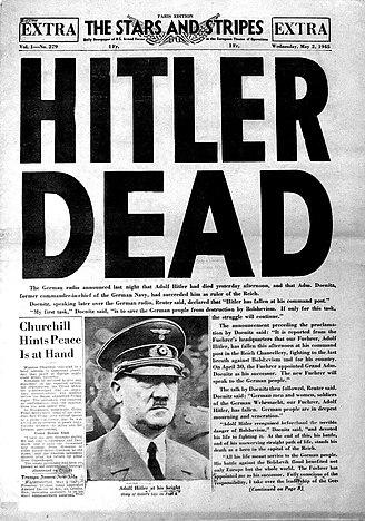 «Гитлер мёртв». Заголовок американской армейской газеты «Звёзды и полосы»