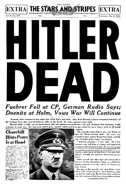 Front page of the U.S. Armed Forces newspaper Stars and Stripes on 2 May 1945 Stars & Stripes & Hitler Dead2.jpg