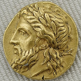 Proto-Indo-European mythology - Laurel-wreathed head of Zeus on a gold stater from the Greek city of Lampsacus, c 360–340 BC