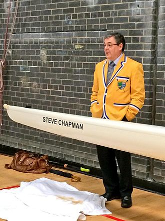 Steve Chapman (chemist) - Chapman, in a Heriot Watt University Boat Club blazer, unveiling a new boat named in his honour