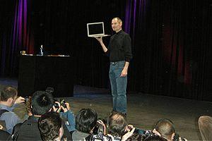 Stevenote - Steve Jobs introduces MacBook Air during keynote presentation at Macworld 2008. The event was his last Macworld appearance.
