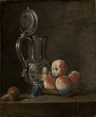 Still Life with Tin Pitcher and Peaches