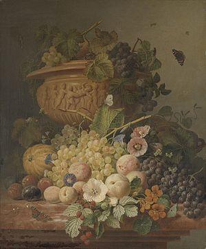 Eelke Jelles Eelkema - Image: Stilleven met bloemen en vruchten Rijksmuseum SK A 1032