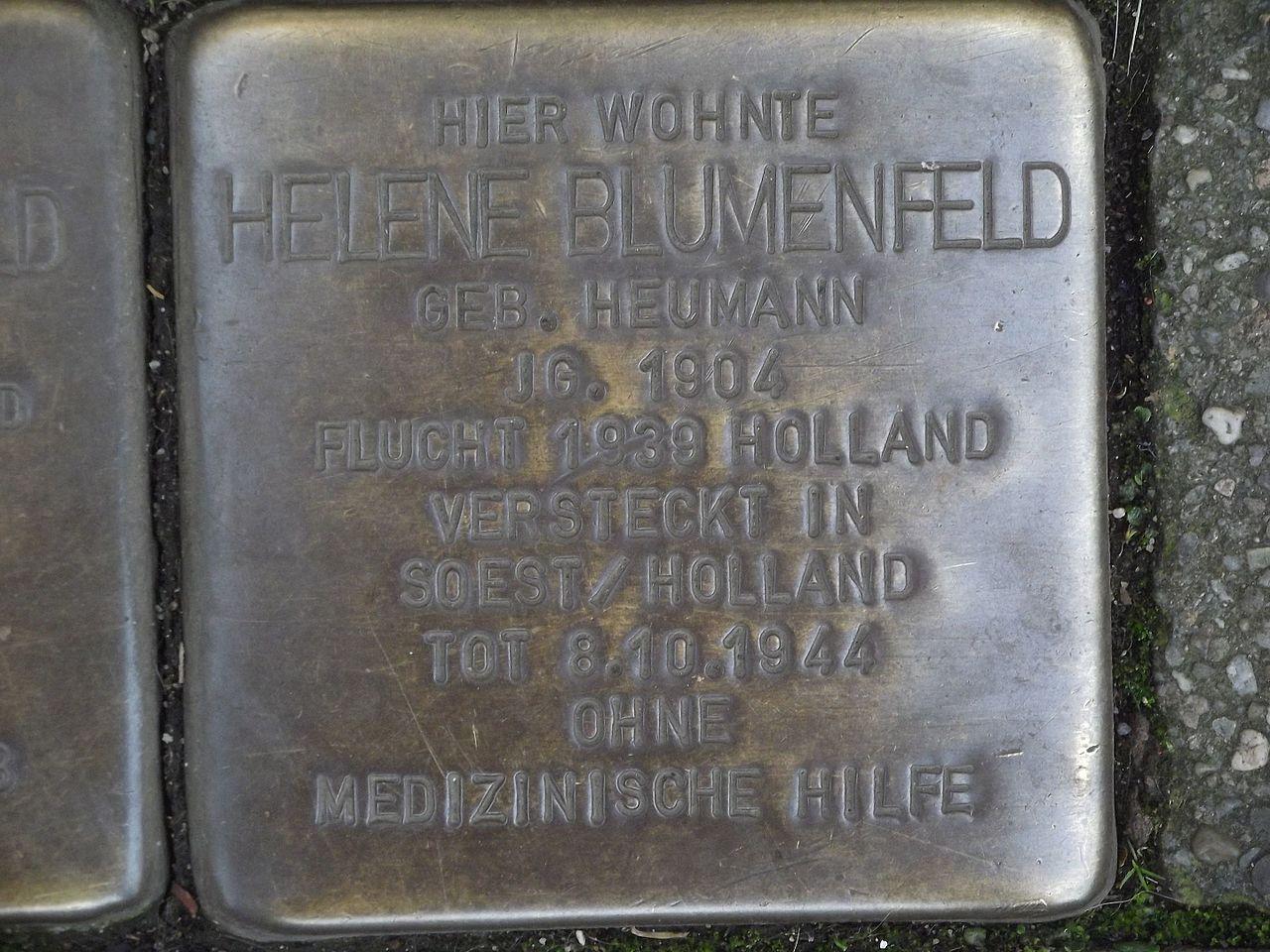Stolperstein Düsseldorf 9 Benrath Hauptstraße 46 Helene Blumenfeld.jpg
