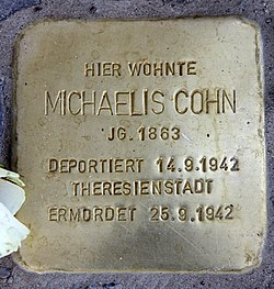 Photo of Michaelis Cohn brass plaque