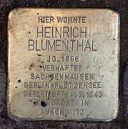 Photo of Heinrich Blumenthal brass plaque