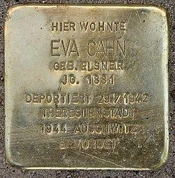 Photo of Eva Cahn brass plaque