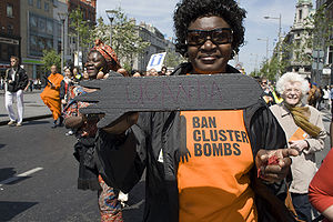 Uganda Landmine Survivors Association - Image: Stop cluster bomb march Uganda